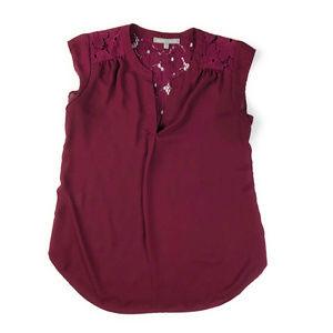 Daniel Rainn Purple Cap Sleeve Blouse Lace Back